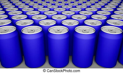 Blue cans. Soft drinks or beer production. Recycling packaging. 4K seamless loop dolly clip, cartoon animation