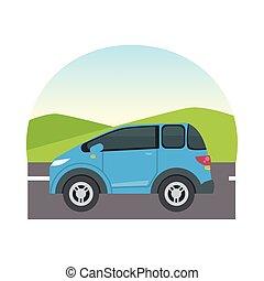 blue car at street vector design
