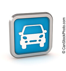 blue car button icon on a white background