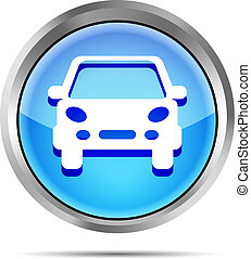 blue car button icon on a white