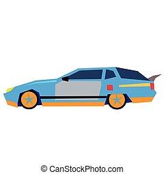 Blue car flat illustration on white