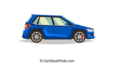Blue car hatchback. Side view. Transport for travel. Gas engine. Alloy wheels. Vector illustration. Flat style