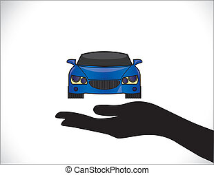 Blue Car Insurance Protection Hand