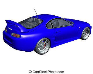 blue car of sports type on a white background