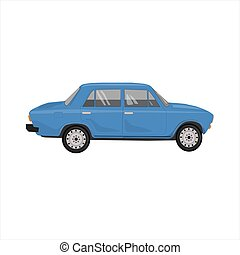 Blue car of the old Russian model. Vector illustration isolated on a white background. Realistic image