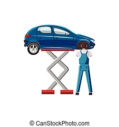 Blue car on a scissor lift platform icon