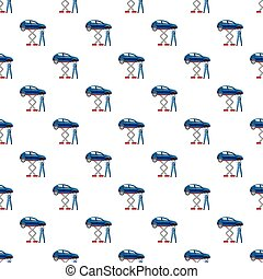 Blue car on a scissor lift platform pattern