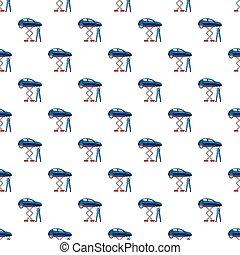 Blue car on a scissor lift platform pattern