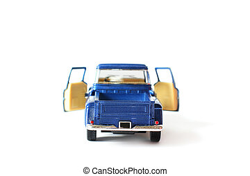 Blue car on a white background