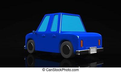 Blue car on black background