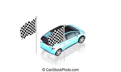 Blue car on finish - part of isometric collections of...