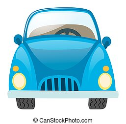 Blue car on white background