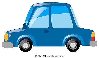 Blue car on white background