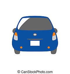 blue car, rear view