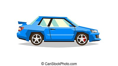 Blue car roadster. Side view. Transport for travel. Gas engine. Alloy wheels. Vector illustration. Flat style