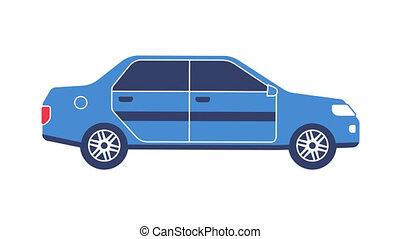 Blue car sedan flat icon