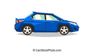 Blue car sedan. Side view. Transport for travel. Gas engine. Alloy wheels. Vector illustration. Flat style