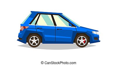 Blue car SUV. Side view. Transport for travel. Gas engine. Alloy wheels. Vector illustration. Flat style