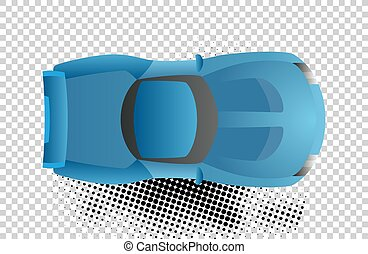 Blue car top view vector illustration. Flat design auto....