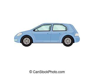 Blue car. Vector illustration on white background.
