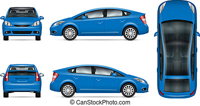 Blue car vector mockup