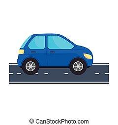 blue car vehicle at street vector design
