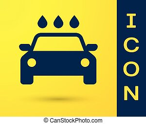 Blue Car wash icon isolated on yellow background. Carwash service and water cloud icon. Vector Illustration