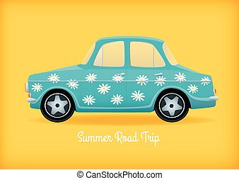 blue car with daisies