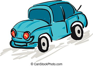 Blue car with red headlights, vector color illustration.