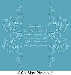 Blue card design with ornate floral pattern