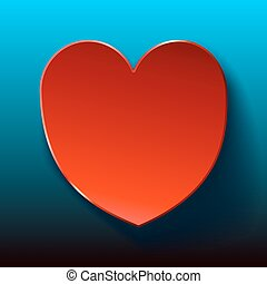 Blue Card for Valentines red heart. Vector