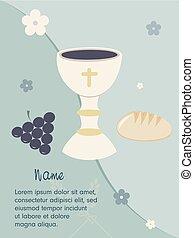 Blue card invitation - invite with chalice grapes bread and...