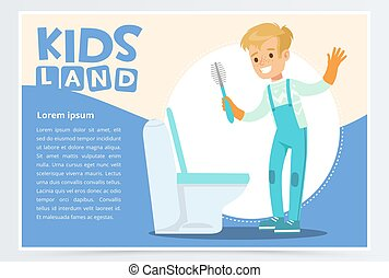 Blue card or poster with cute young boy in gloves cleaning toilet with brush. Kid doing a home cleanup, household chores. Flat style cartoon vector character