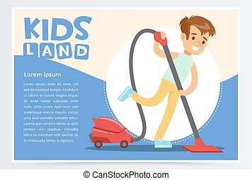 Blue card or poster with happy teenager boy cleaning the floor with vacuum cleaner. Kid doing home cleanup. Flat style cartoon vector illustration.