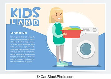 Blue card or poster with young girl standing with a basin with dirty laundry in hands near washing machine. Flat vector character doing household chores.