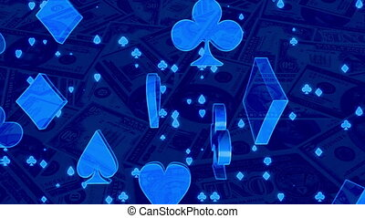 Blue card suits and money gambling animated CG background -...