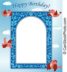 blue card with birds - vector