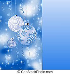 Blue card with christmas balls. EPS 8
