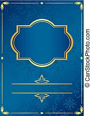blue card with golden frame - vector