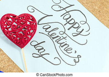 Blue card with happy valentine's day inscription