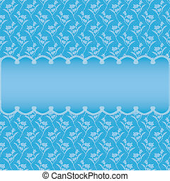 blue card with oval frame on flowers background