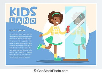 Blue card with smiling black girl with curly hair cleaning the mirror. Kid doing house cleanup, household chores. Vector flat cartoon character