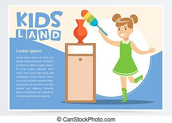 Blue card with smiling girl cleaning room with the dust brush. Kid doing a home cleanup, household chores. Colorful flat style cartoon vector illustration.