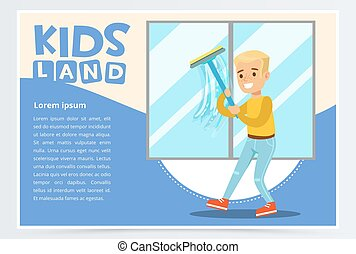 Blue card with young boy washing the window with wiper. Kid helping with housekeeping and doing house cleanup, household chores. Cartoon vector character.