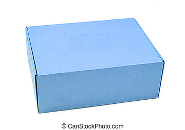 blue cardboard box isolated on white background
