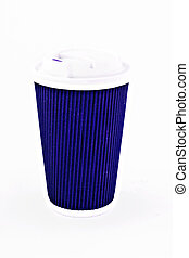 blue cardboard coffee glass with lid isolated