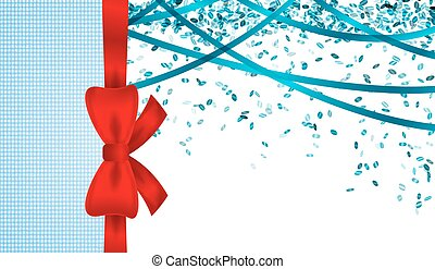 blue cardboard with bow and confett