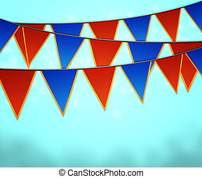 Blue Carnival Flags Background