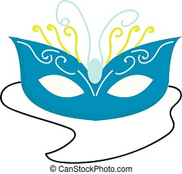 Blue carnival mask vector illustration on white background
