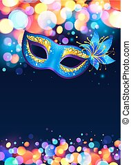 Blue carnival mask vector poster background with bokeh...